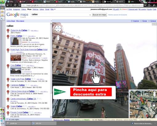 Ejemplo de interactividad en Google Street View
